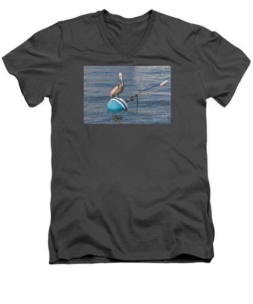 Pelican On A Buoy Men's V-Neck T-Shirt
