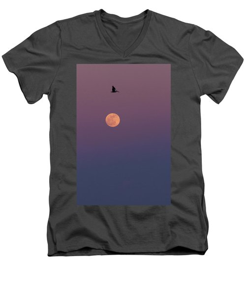 Pelican Over The Moon Men's V-Neck T-Shirt