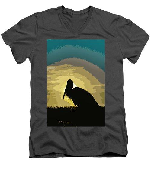 Pelican Paint Men's V-Neck T-Shirt by Josy Cue