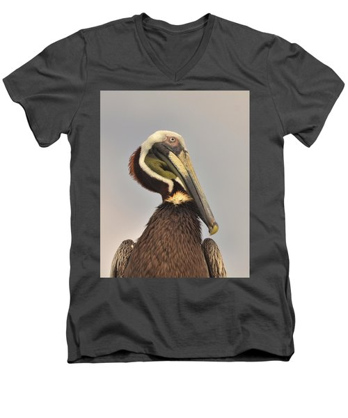 Pelican Portrait Men's V-Neck T-Shirt by Nancy Landry