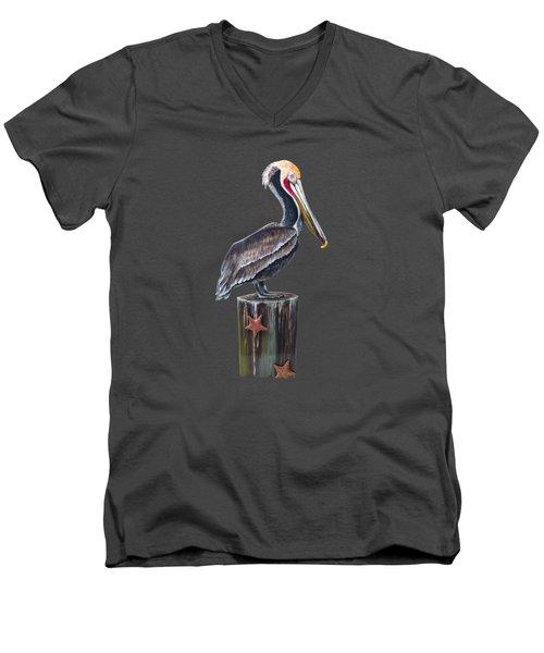 Pelican Standing On A Piling Men's V-Neck T-Shirt