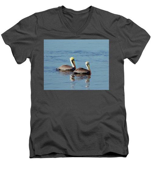 Pelicans 2 Together Men's V-Neck T-Shirt