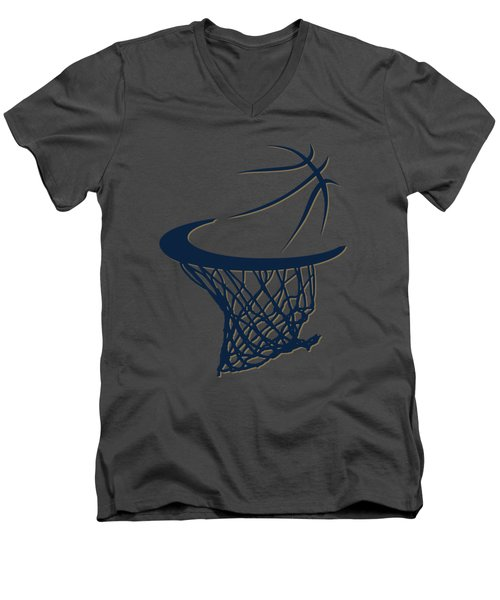 Pelicans Basketball Hoop Men's V-Neck T-Shirt by Joe Hamilton