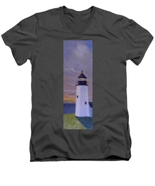 Pemaquid Light Morning Light Men's V-Neck T-Shirt