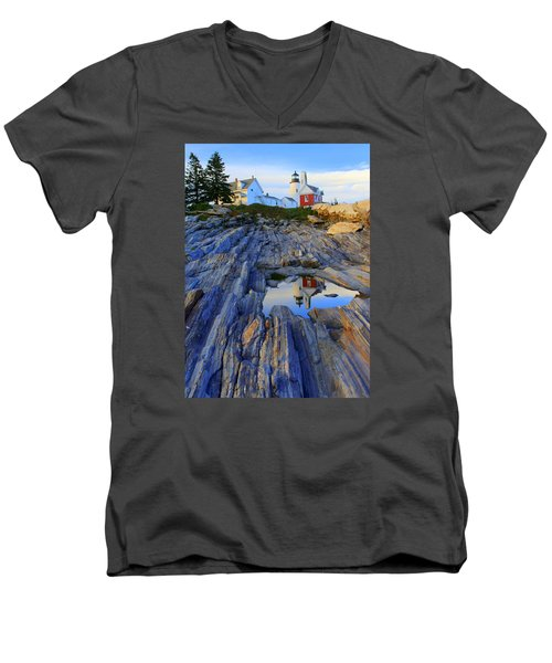 Pemaquid Point Light Reflections Men's V-Neck T-Shirt