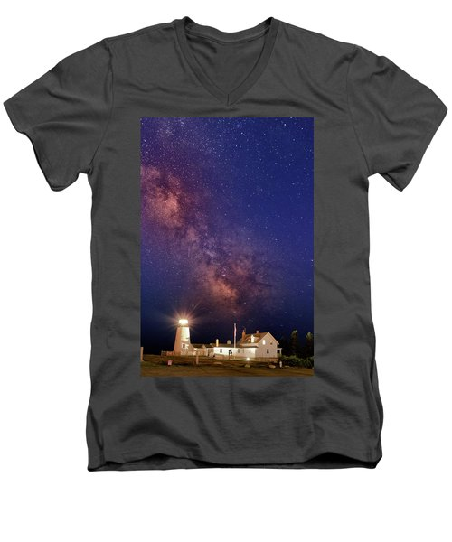 Pemaquid Point Lighthouse And The Milky Way Men's V-Neck T-Shirt