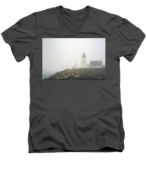 Pemaquid Point Lighthouse In Fog Men's V-Neck T-Shirt