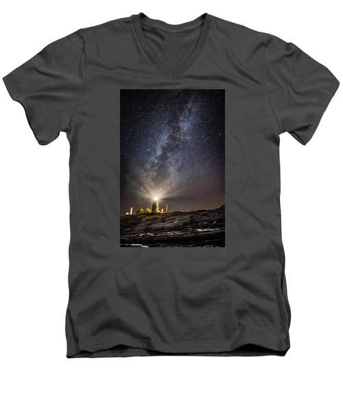 Men's V-Neck T-Shirt featuring the photograph Pemaquid Point Milky Way by Robert Clifford