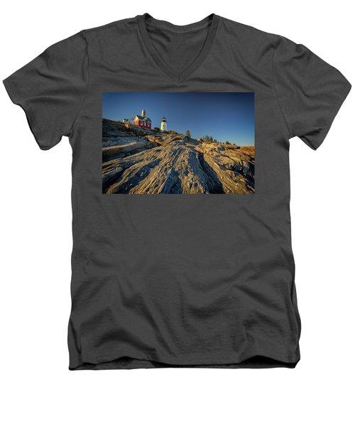 Pemaquid Point Men's V-Neck T-Shirt by Rick Berk