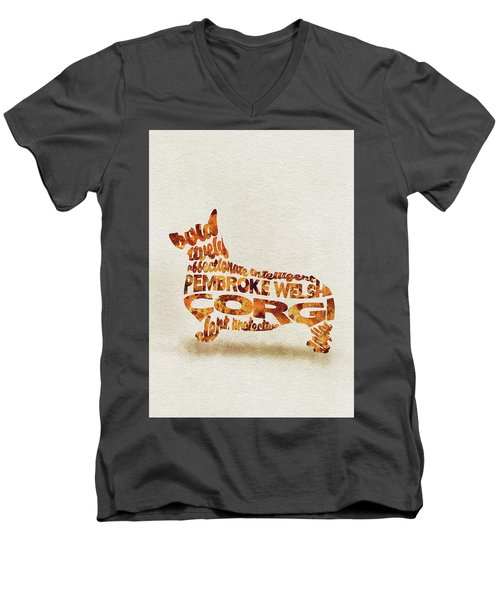 Men's V-Neck T-Shirt featuring the painting Pembroke Welsh Corgi Watercolor Painting / Typographic Art by Ayse and Deniz