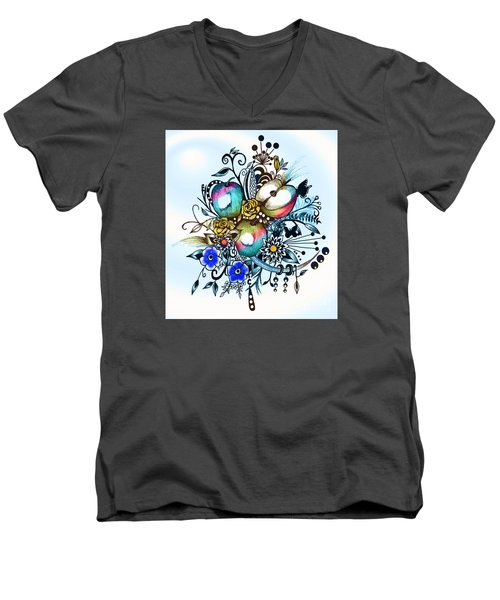 Pen And Ink Drawing, Colorful Apples, Watercolor And Digital Painting Men's V-Neck T-Shirt by Saribelle Rodriguez