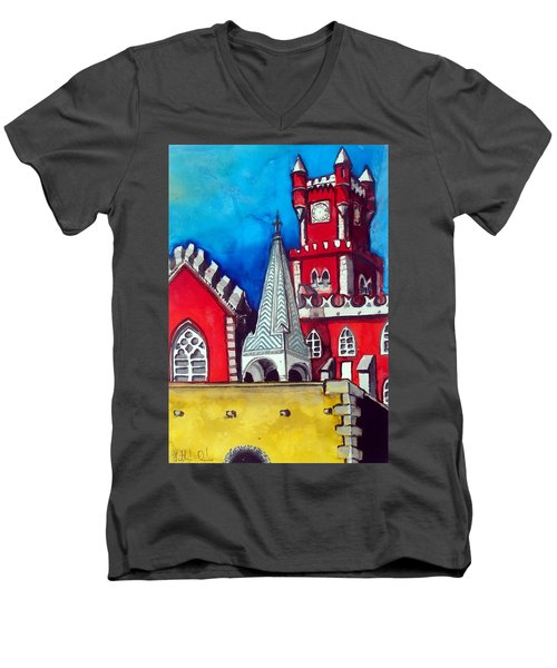 Men's V-Neck T-Shirt featuring the painting Pena Palace In Portugal by Dora Hathazi Mendes
