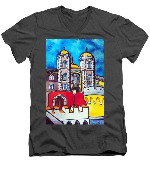 Men's V-Neck T-Shirt featuring the painting Pena Palace In Sintra Portugal  by Dora Hathazi Mendes