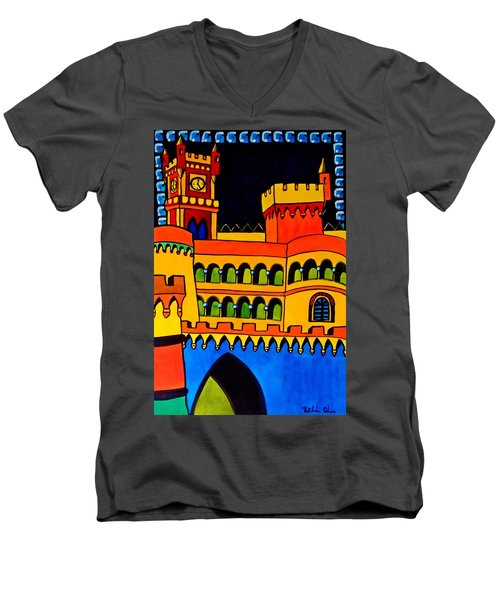 Men's V-Neck T-Shirt featuring the painting Pena Palace Portugal by Dora Hathazi Mendes