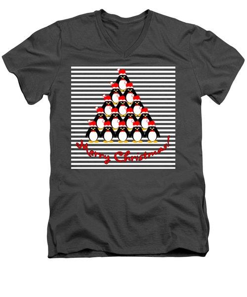 Penguin Christmas Tree N Stripes Men's V-Neck T-Shirt