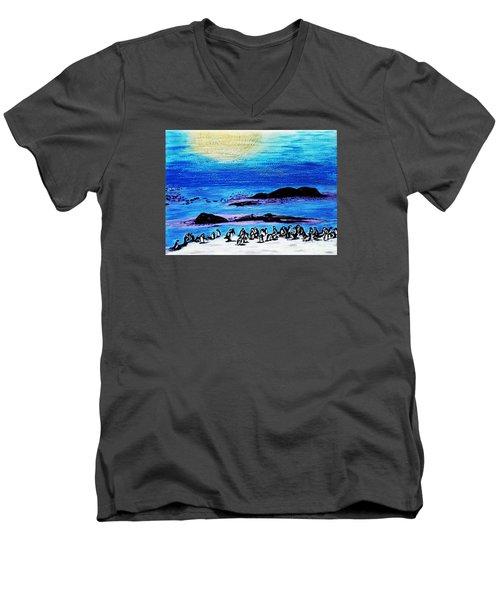 Penguins Land Men's V-Neck T-Shirt