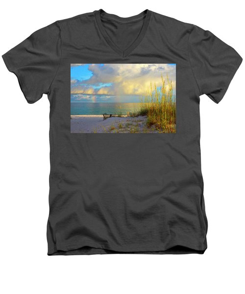 Pensacola Rainbow At Sunset Men's V-Neck T-Shirt by Marie Hicks
