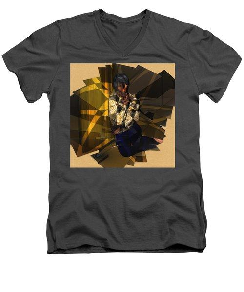 Pensive Woman Men's V-Neck T-Shirt