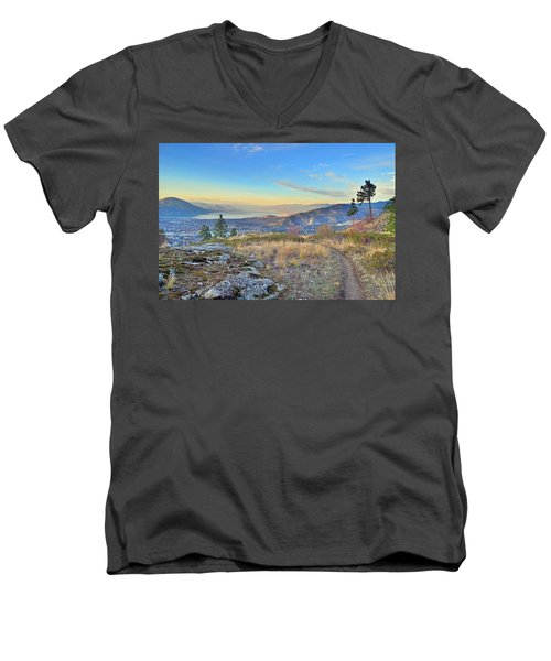 Men's V-Neck T-Shirt featuring the photograph Penticton In The Distance by Tara Turner
