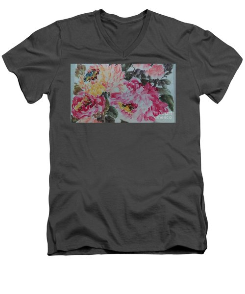 Men's V-Neck T-Shirt featuring the painting Peoney20161229_10 by Dongling Sun