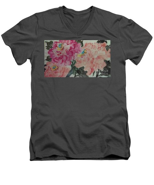 Men's V-Neck T-Shirt featuring the painting Peoney20161230_6246 by Dongling Sun