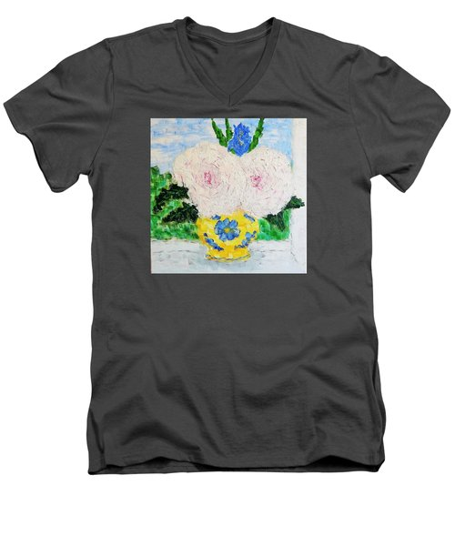 Peonies And Iris On The Window. Men's V-Neck T-Shirt