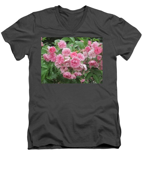 Peonies At Glen Magna Farms Men's V-Neck T-Shirt by Paul Meinerth