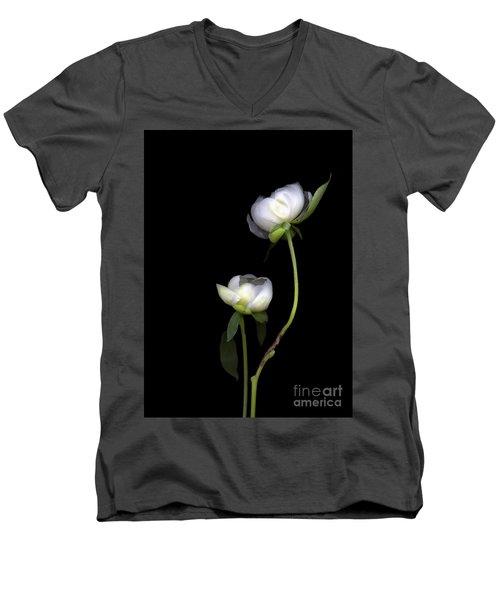 Peonies Men's V-Neck T-Shirt by Christian Slanec