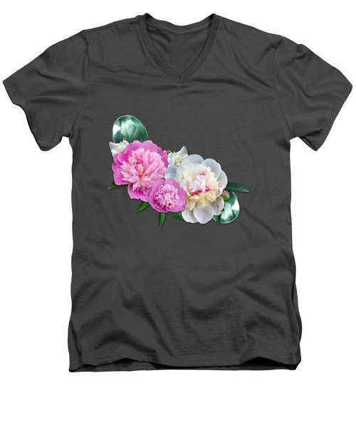 Peonies In Pink And Blue Men's V-Neck T-Shirt