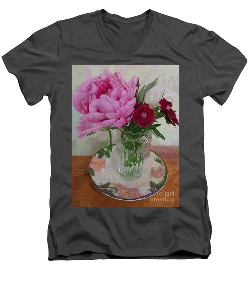 Men's V-Neck T-Shirt featuring the digital art Peonies With Sweet Williams by Alexis Rotella