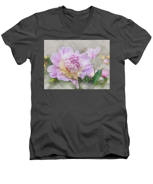 Peony 2 Men's V-Neck T-Shirt