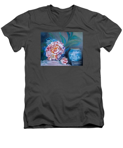 Men's V-Neck T-Shirt featuring the painting Peony And Chinese Vase by Jenny Lee