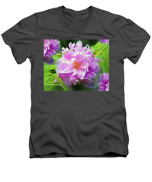 Peony Cluster 7 Men's V-Neck T-Shirt