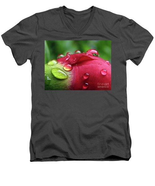 Peony Drops 2 Men's V-Neck T-Shirt