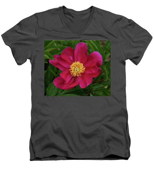 Men's V-Neck T-Shirt featuring the photograph Peony In Rain by Sandy Keeton