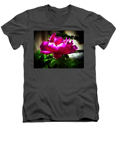 Peony Men's V-Neck T-Shirt by Joseph Frank Baraba