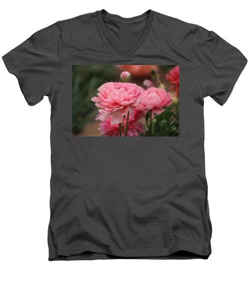 Peony Pink Ranunculus Closeup Men's V-Neck T-Shirt