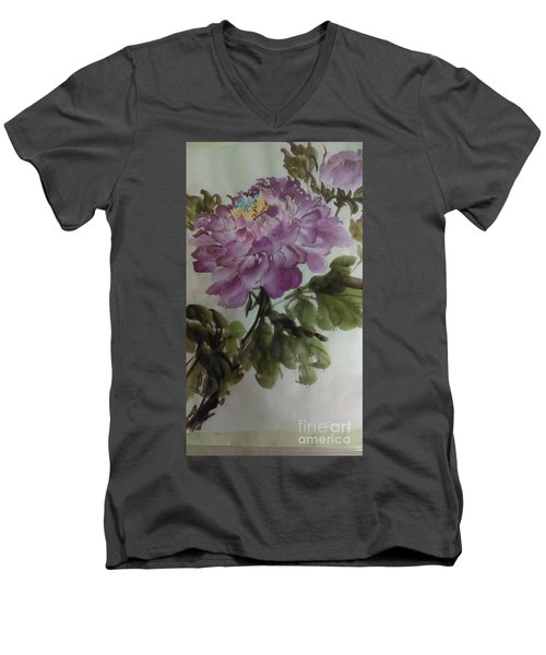 Men's V-Neck T-Shirt featuring the painting Peony20170126_1 by Dongling Sun