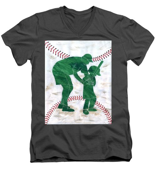 People At Work - The Little League Coach Men's V-Neck T-Shirt by Lori Kingston