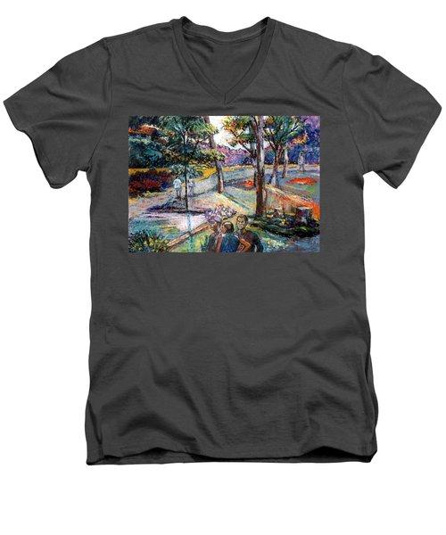 People In Landscape Men's V-Neck T-Shirt