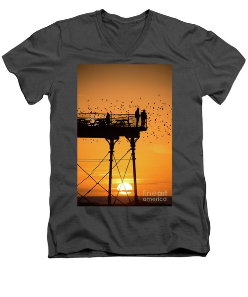 People On The Pier Sunset And Starlings In Aberystwyth Wales Men's V-Neck T-Shirt