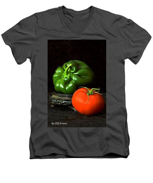 Men's V-Neck T-Shirt featuring the photograph Pepper And Tomato by Elf Evans