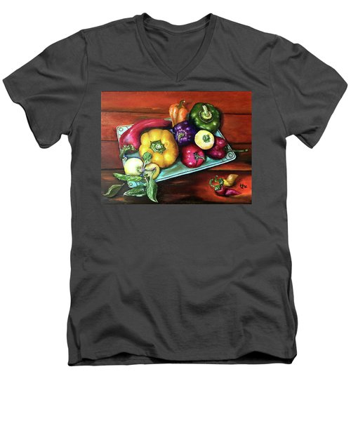 Peppers And A Turquoise Tray Men's V-Neck T-Shirt