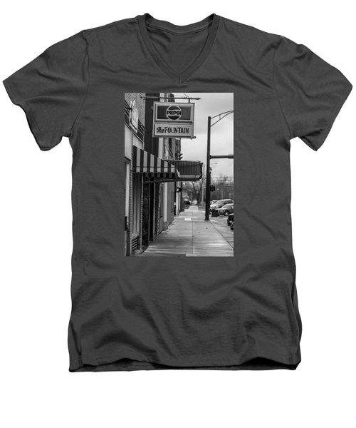 Pepsi The Fountain Sign Men's V-Neck T-Shirt by John McGraw