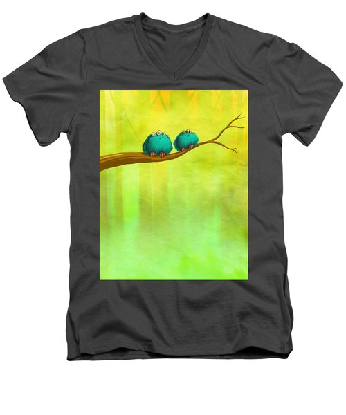 Perching Fluffs Men's V-Neck T-Shirt