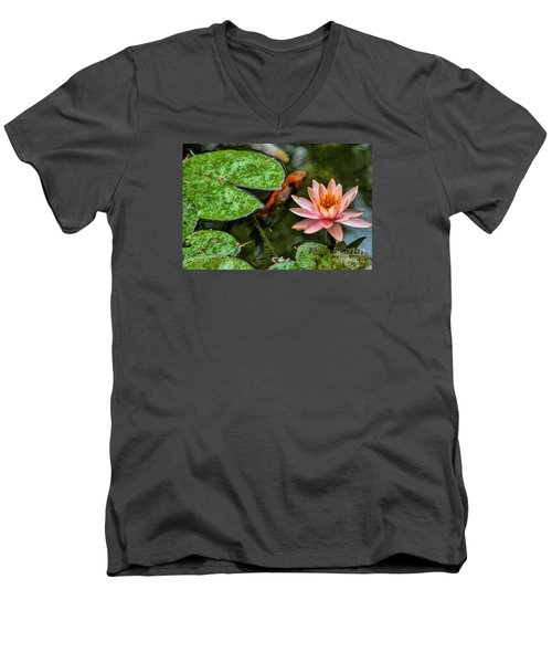 Perfect Beauty And Koi Companion Men's V-Neck T-Shirt by Diana Mary Sharpton