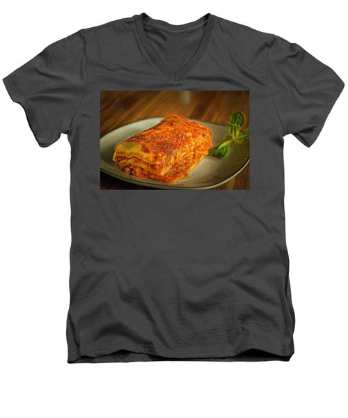 Men's V-Neck T-Shirt featuring the painting Perfect Food by Harry Warrick