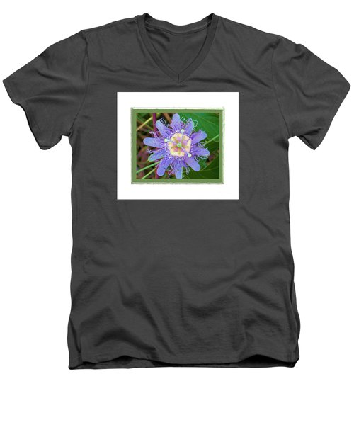 Men's V-Neck T-Shirt featuring the photograph Perfect Passion Flower 2 by Shirley Moravec