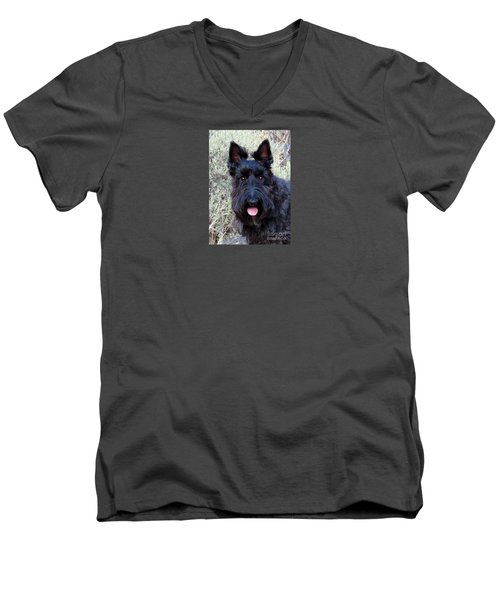 Men's V-Neck T-Shirt featuring the photograph Scottish Terrier Portrait by Michele Penner