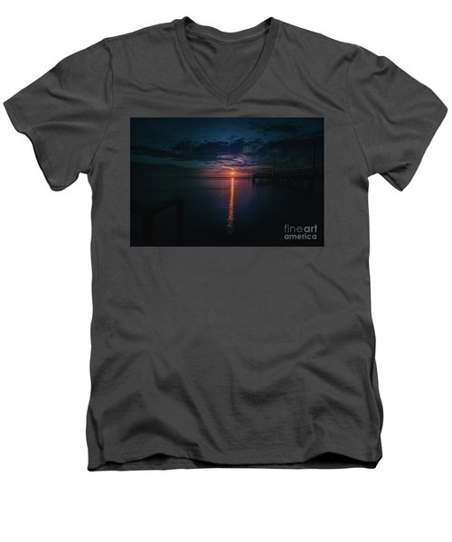 Perfect Sunset Men's V-Neck T-Shirt by Jim  Hatch